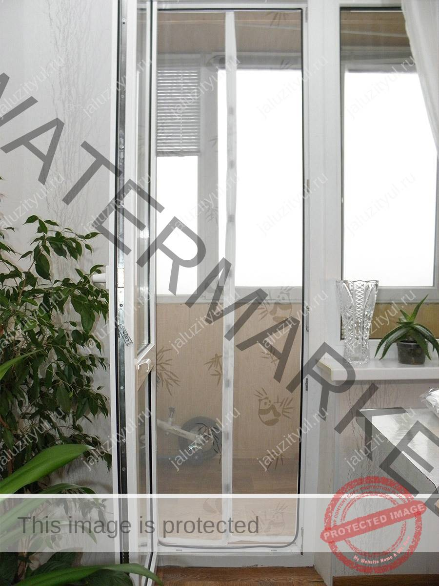 Москитная сетка на магнитах на балконную дверь коллекция изо.