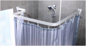 шторы и карнизы в ванну угловые