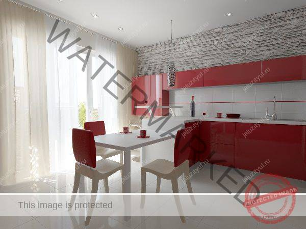 Шторы к красному кухонному гарнитуру